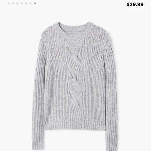 MANGO Cable-knit sweater- Gray- Small
